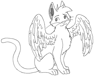 Winged cat lines by DemonicKitty244