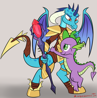 Ember with Spike by orang111