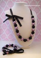 Purple and Black Pearl Lolita Ribbon Jewelry Set by Strawberryserenade