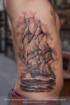 Pirate Ship Tattoo by Sunny Bhanushali by Javagreeen