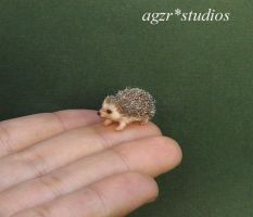 Handmade 1:12 scale miniature furred Hedgehog by AGZR-STUDIOS