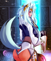 Mysterious Character - Yuiko the Inugami Backside by Sephzero