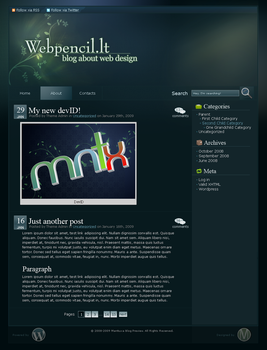 Kinda Teal Wordpress Theme by Mantiuxa