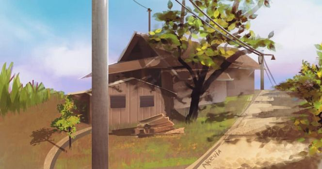 Environtment study #3 house in the middle field by akevikun