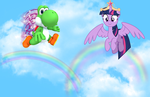Yoshi flies with Twilight Sparkle by user15432