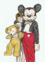Ziggy Stardust with Mickey Mouse and Duffy Bear by gagambo
