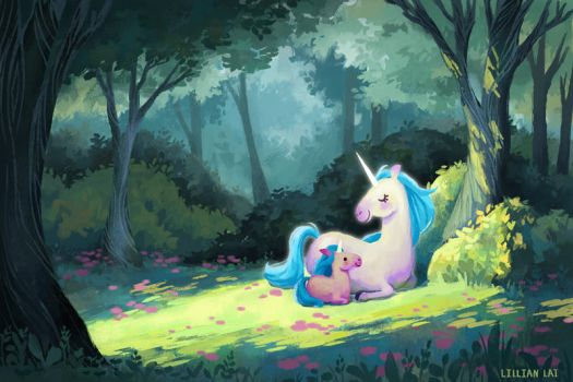 Unicorn in the woods by LillianLai
