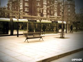 Alone with the tramway by LEZARD-GRAPHIQUE