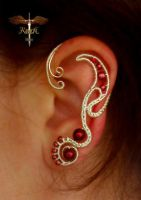 Red pearls earcuff by alina-loreley