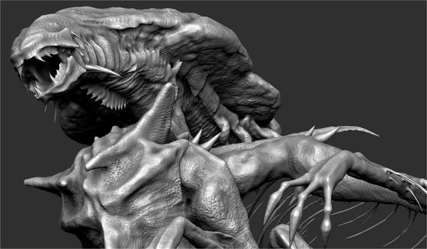 ZBrush - Draconic Xenomorph Queen WIP by Rebecca1208
