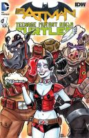 Harley Quinn Beebop and Rocksteady Sketch Cover by timshinn73