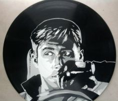 Drive Ryan Gosling stencil on vinyl record by vantidus