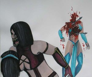 Mileena Fatality on Kitana Mortal Kombat by pauline86