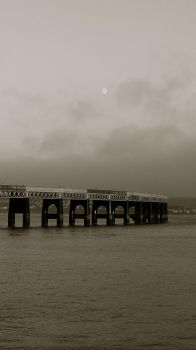 Moon over the Tay rail bridge by HappySnapper74