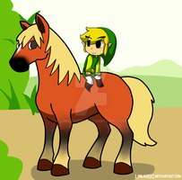 Toon Link and Epona by Linkage92