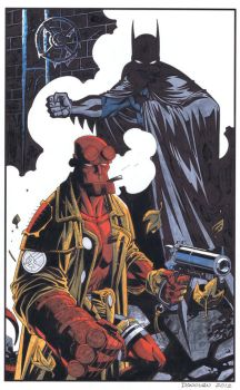 Batman Hellboy Color by DerecDonovan