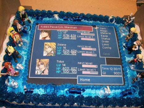 Final Fantasy Birthday Cake by ChaoticBlossoms