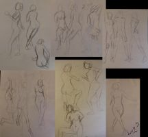 Life drawing gesture sketches, week 8 and 9 by 7AirGoddess3