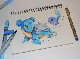 Lapras playing with Polywag by Lighane
