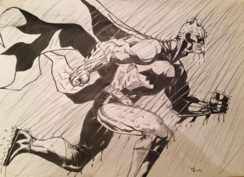 Batman in the Rain inked finish by Nick-Bray