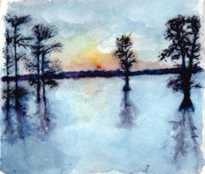 Lake Watercolor by Zunii-H