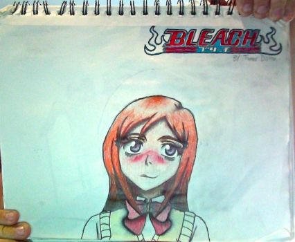 Orihime Inoue + Bleach logo drawing (Unflipped) by TannMann64