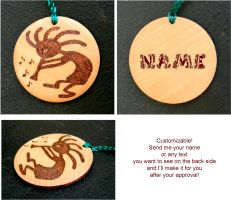 KOKOPELLI wooden key chain with your name by YANKA-arts-n-crafts
