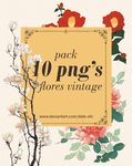 Pack 10 png flores vintage by Date-shi