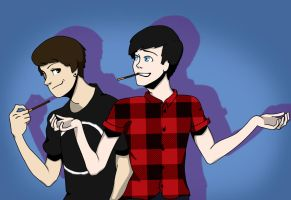 Dan and Phil eat pocky! 3/4 by StJammy