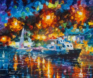 Night Colors Of The Harbor by Leonid Afremov by Leonidafremov