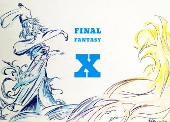 Final Fantasy X Title by kirstenmarquisart