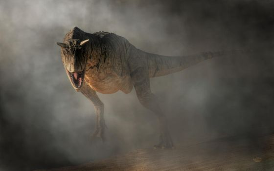 Carnotaurus Emerging From Fog by deskridge