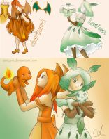 Charizard and Leafeon cosplays by Aintza-K