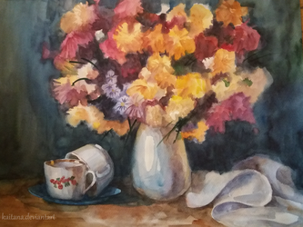 Stillife with flowers and cups by Kaitana