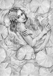 Mermaid in the shade of water lilies by Nismiana