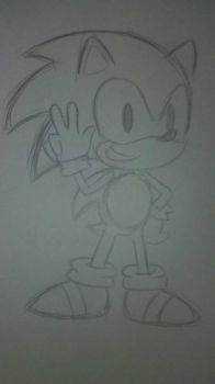 Classic Sonic Sketch by ChibiAsh07