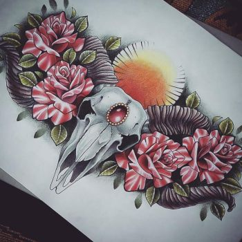 Ram Skull and Roses Chest Piece Tattoo Design by kirstynoelledavies