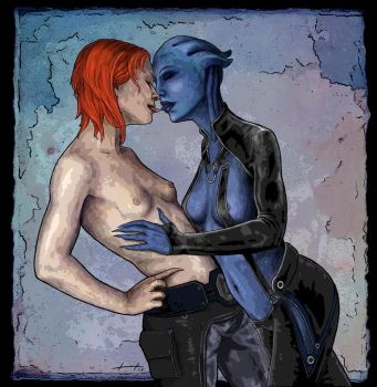 Shepard and Liara - Mass Effect by searoth