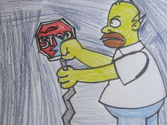 Homer hates street signs, by citytoon