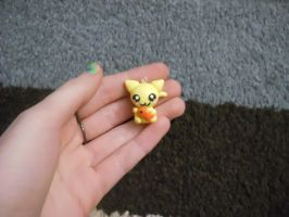 Kitty with Fishy Polymer Clay Charm by ResurrectedVampire69