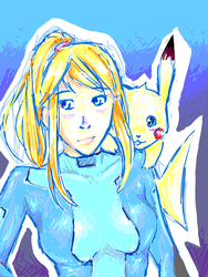 BRAWL: Samus and Pikachu by teraphim