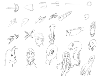 Space Themed doodles by zebarnabe