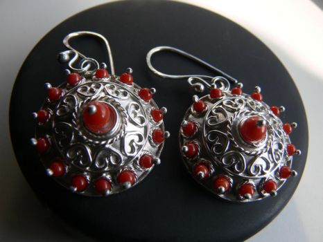 silver earring with coral 3 by irineja