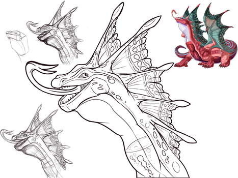 Prize: Dragon bust Lineart Commission 01 by DragonLoreStudios