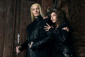 Bellatrix Lestrange and Lucius Malfoy by zstedjas