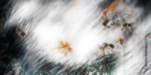 a wave of goldfish by blackbeat