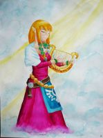 The lovely lyre player by Viride