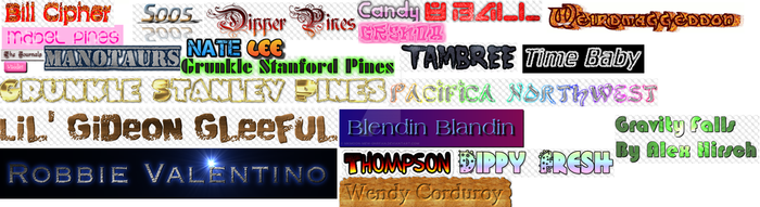 Almost All of the Gravity Falls Character Names by MKMoon-Mew-GNRFan
