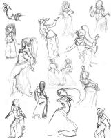 Belly Dancer Sketches by youngartist1992