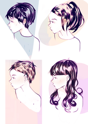 4 hair styles by Eloquent-Phony
